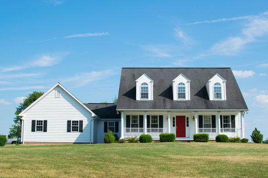 Suburban Home With Red Door In Pennsylvania