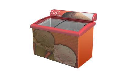 Ice cream refrigerator, display fridge isolated on white, 3D illustration