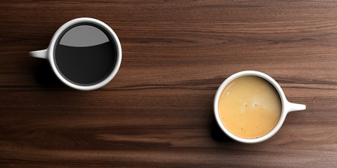 Cups of coffee on wooden background. 3d illustration