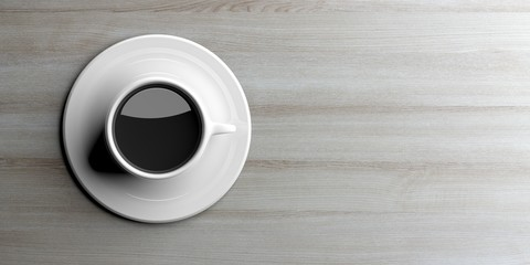 Cup of coffee on wooden background iwth copy space. 3d illustration