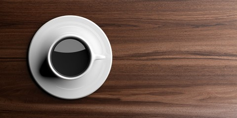 Cup of coffee on wooden background with copy space. 3d illustration
