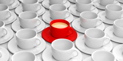 Cups of coffee background 3d illustration