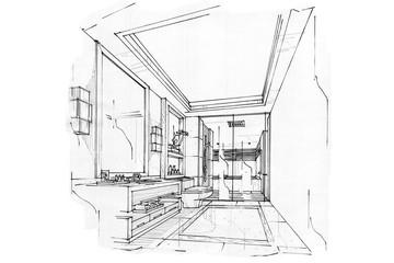 sketch interior perspective BATH ROOM, black and white interior design.