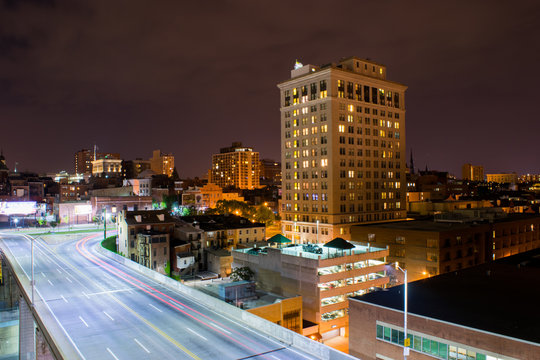 Long Exposure of Highways at Night Time in Baltimore, Maryland