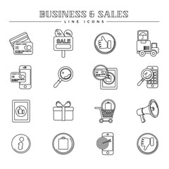 Business and sales, line icons set