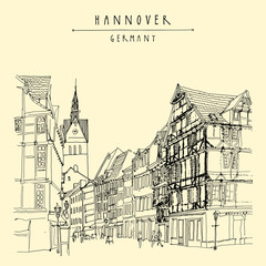 Hanover, Germany, Europe. Pedestrian street with historic traditional German timbered houses and church belfry. Hand drawn touristic postcard, poster template or book illustration