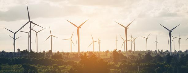 Wind turbine farm on hillside