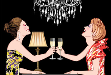 Acrylic Prints Art Studio Two young happy women with champagne glasses