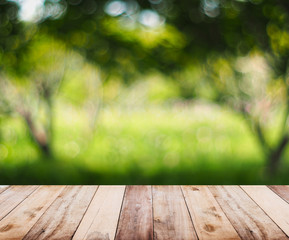 wooden table top over abstract natural background