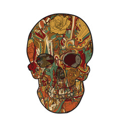 Line art and tattoo of skull