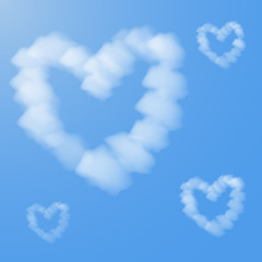 Vector illustration of clouds in form of hearts