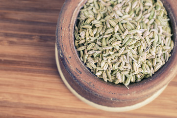 Fennel seeds in a bowl with faded effect
