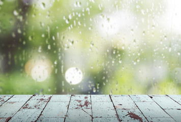 Vintage wooden in rainy day