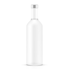 VECTOR PACKAGING: White gray long neck empty glass bottle on isolated white background. Mock-up template ready for design