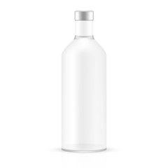 VECTOR PACKAGING: White gray empty glass bottle on isolated white background. Mock-up template ready for design