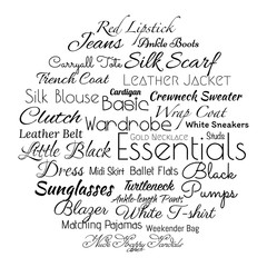 Basic women wardrobe, essentials are listed in the tag cloud, typographic illustration with text made in vector.