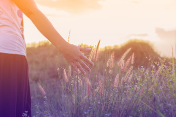 Hand of Young Woman Enjoying Nature with sunrise.
