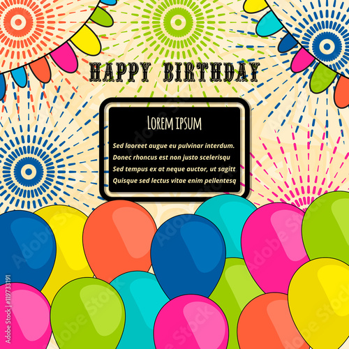 Happy birthday vector card on decorated balloons background happy birthday vector card on decorated balloons background happy birthday template brochure stopboris Gallery