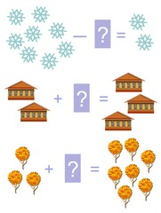Educational game for children.Cartoon illustration of mathematical addition and subtraction. Easy editable pattern.