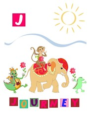 Cute cartoon english alphabet with colorful image and word. Kids vector ABC on white background. Letter J.