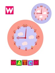 Cute cartoon english alphabet with colorful image and word. Kids vector ABC on white background. Letter W.