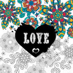 Set floral card design, flowers and leaf doodle elements. Illustration made of flowers and herbs. Vector decorative invitation. Spring elements. Floral doodles