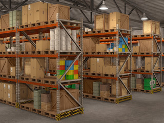 warehouse, 3d illustration