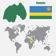 Rwanda map on a world map with flag and map pointer. Vector illustration