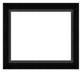Antique picture wood black frame isolated on white background, t