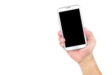 Hand holding smart phone isolated on white background.