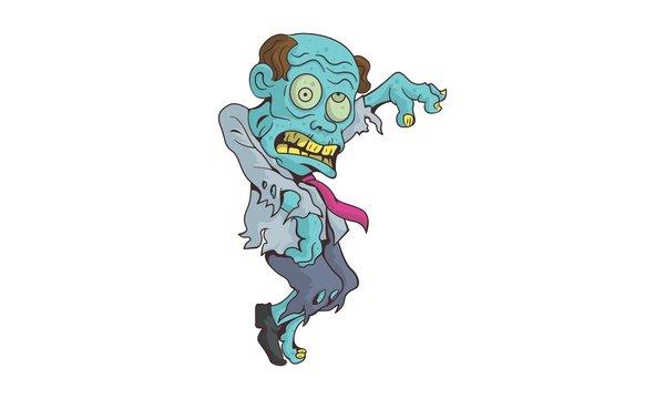 Dancing zombie vector illustration with gradients