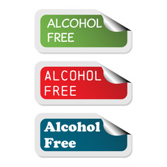 Three isolated stickers with the text alcohol free written on each sticker