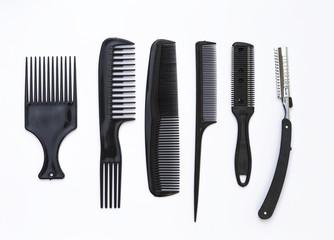 Hair salon equipment on white background