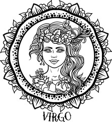 Detailed Virgo in aztec style