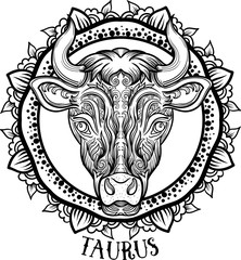 Detailed Taurus in aztec style