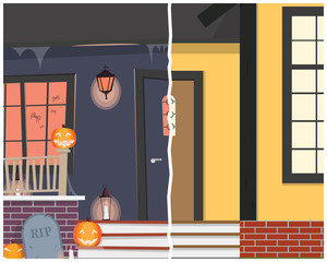 View of the entrance to the house before and after Halloween. Vector illustration