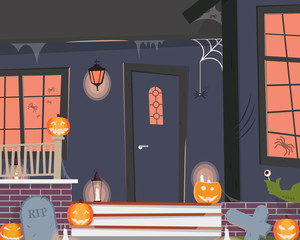View of the entrance to the house decorated for Halloween. Vector illustration