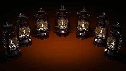 Burning kerosene lamp background, concept lighting. 3d rendering