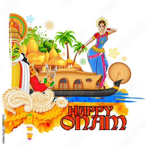 """Onam Background Showing Culture Of Kerala"" Stock Image"