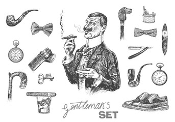 Victorian Era set, Gentleman's vintage accessories doodle collection. Elegant gentleman holding glass of beverage and cigar. Hand drawn men illustrations