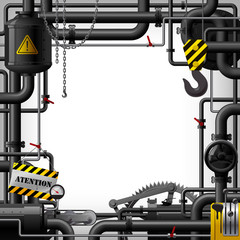 Industrial frame with black pipes and machine gears