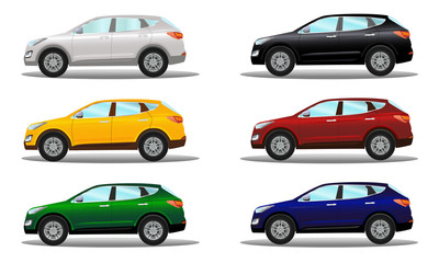 Set of crossover vehicles in a variety of colors