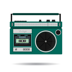 Retro colorful radio icon. Modern flat design elements. Vintage isolated vintage object. Vector illustration.