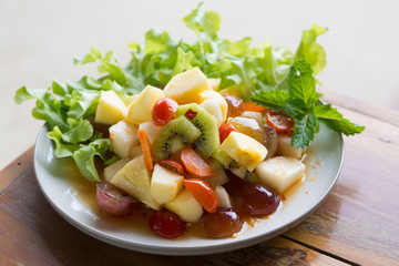 Spicy salad mixed fruit of Thai style