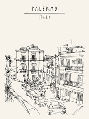 View of Palermo, Italy, Europe. Nice historical buildings, town square, car park, palm trees. Travel sketchy drawing. Touristic poster, postcard template, book illustration
