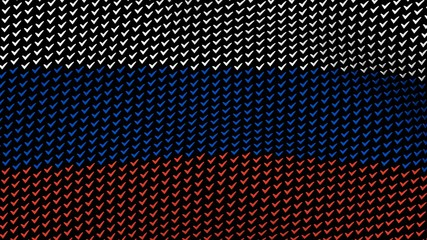 Russian flag is waving in the wind, consisting of choice's symbols, on a black background.