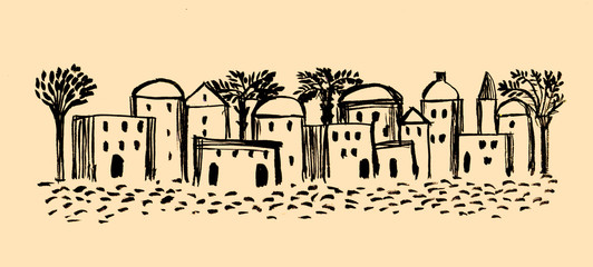 Ancient Town, Old City, Illustration,Sketch, Middle East