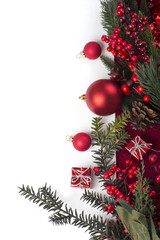 Greeting card for Christmas with red ball. Christmas background. christmas decoration
