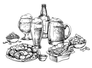 Composition of Different Glass mugs, bottle, cup, jar, pot, cans Beer and Snacks. Hand Drawing Sketch image for Oktoberfest, menu the restaurant, pub, bistro, snack bar, tavern, isolated vector