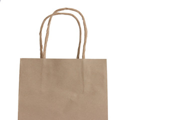 Brown Shopping Bag with Handles on White Background
